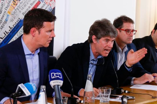 Chilean clerical sex abuse survivors Juan Carlos Cruz, James Hamilton and Jose Andres Murillo attend a news conference at the Foreign Press Association building in Rome