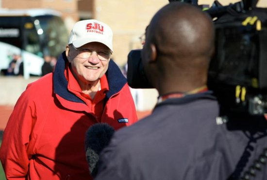 John Gagliardi, former head football coach at St. John's University in Collegeville, Minn., is seen in 2009. Three years prior he became the first active coach to be elected to the College Football Hall of Fame.