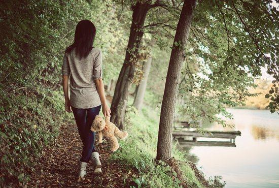 Woman walking in grief