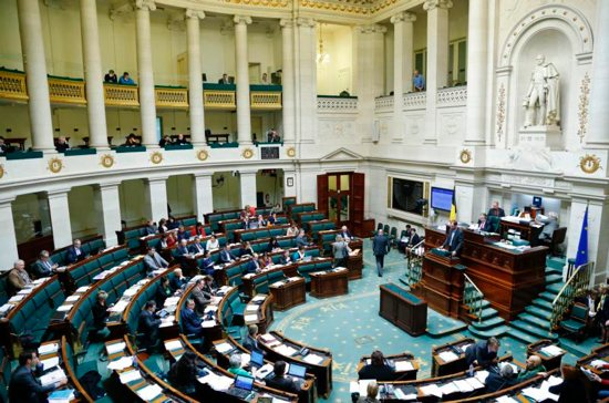 The lower house of the Belgian Parliament is seen during its plenary session in Brussels. The government will prosecute two doctors and a psychiatrist for an allegedly illegal act of euthanasia.