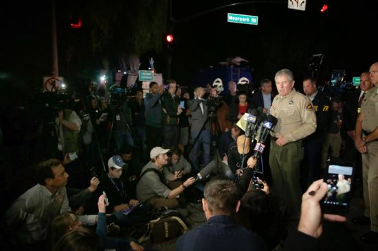Ventura County sheriff Geoff Dean addresses the media Nov. 8 outside the Borderline Bar and Grill in Thousand Oaks, Calif., after a gunman killed at least 13 people. The gunman, who opened fire without warning late Nov. 7, was found dead inside the establishment, authorities said.