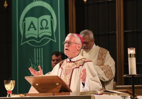 In this 2015 file photo, New York Auxiliary Bishop John J. Jenik celebrates Mass at St. John-Visitation Church in the Kingsbridge section of the Bronx borough of New York. He has been removed from public ministry pending a Vatican review of a decades-old accusation of sexual abuse against him, a claim he denies, the Archdiocese of New York said in a letter