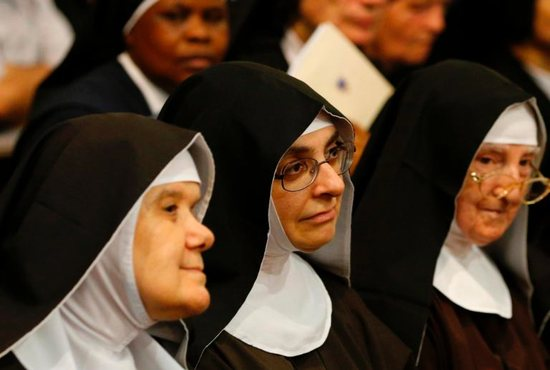 Nuns attend Pope Francis' meeting with priests, seminarians and religious at the cathedral in Palermo, Sicily, Sept. 15. The pope has asked people to give thanks to God for the gift of so many men and woman living a cloistered life of total dedication to prayer.
