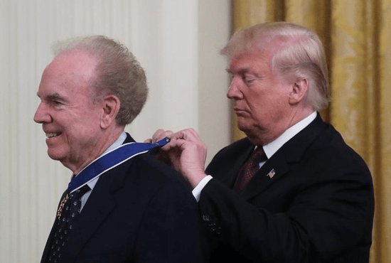 U.S. President Donald Trump awards the Presidential Medal of Freedom to NFL Hall of Fame quarterback Roger Staubach Nov. 16 in the White House. Staubach and the late Supreme Court Associate Justice Antonin Scalia, both Catholics, were among this year's honorees.