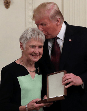 U.S. President Donald Trump greets Maureen McCarthy Scalia, widow of the late U.S. Supreme Court Associate Justice Antonin Scalia, after posthumously awarding him the 2018 Presidential Medal of Freedom Nov. 16 at the White House in Washington. Antonin Scalia, a Catholic, died in 2016.