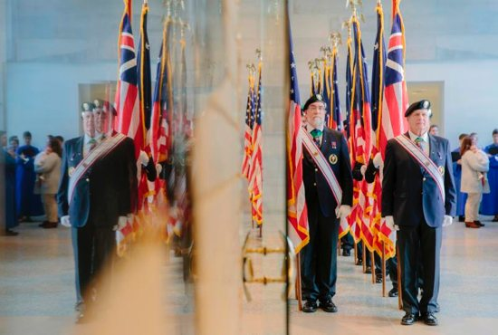 Members of Fourth Degree Knights of Columbus Honor Guard are seen Nov. 11 at the St. John Paul II National Shrine in Washington. The Mass marked the 100th anniversary of the end of World War I.