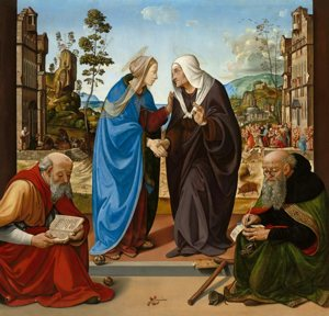 """Mary and Elizabeth are depicted in a 15th-century oil painting by Piero di Cosimo. The title of the painting is """"The Visitation with St. Nicholas and St. Anthony Abbot."""""""
