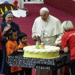 Pope celebrates his birthday with clients of Vatican pediatric clinic