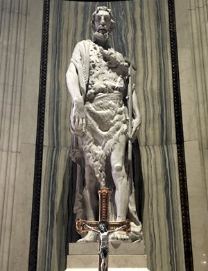 A statue of St. John the Baptist stands at the Cathedral of St. Paul in St. Paul.