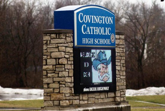 A marquee for Covington Catholic High School is seen Jan. 23 in Park Hills, Ky. Days after an encounter took place between Covington Catholic High School students and a Native American tribal leader in Washington, the Diocese of Covington announced it would begin a third-party investigation into what happened at the foot of the Lincoln Memorial following the annual March for Life Jan. 18.