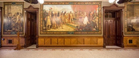 Murals by Luigi Gregori that adorn the ceremonial entrance to the University of Notre Dame's main building, depicting the life and exploration of Christopher Columbus, are seen Oct. 10, 2015, on the campus in Indiana. Holy Cross Father John I. Jenkins, president of the university, has determined the historic murals depicting Columbus' arrival in the New World will be covered, saying he feels today those images marginalize certain groups.
