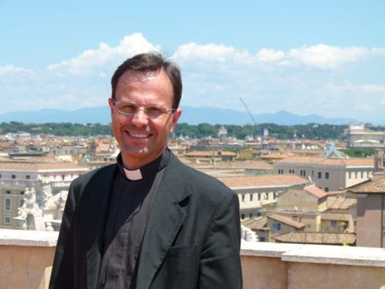 """Father Hermann Geissler, an Austrian priest under canonical investigation, stepped down as an official at the Vatican Congregation for the Doctrine of the Faith in an effort """"to limit the damage already done to the congregation and to his community,"""" the doctrinal office said. Father Geissler, a 53-year-old theologian, who is a member of a community called The Spiritual Family The Work, is pictured in a June 3, 2014, photo."""