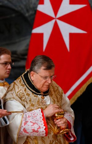 U.S. Cardinal Raymond L. Burke, a canon lawyer and former grand master of the Knights of Malta, is pictured in a Feb 20, 2015, photo. Internal documents relating to the public crisis that led to his resignation of the grand master of the Knights of Malta in 2017 were released by WikiLeaks.
