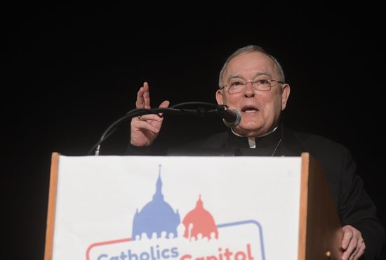 Archbishop Charles Chaput of Philadelphia speaks during the 2019 Catholic at the capitol event Feb. 19 in St. Paul.