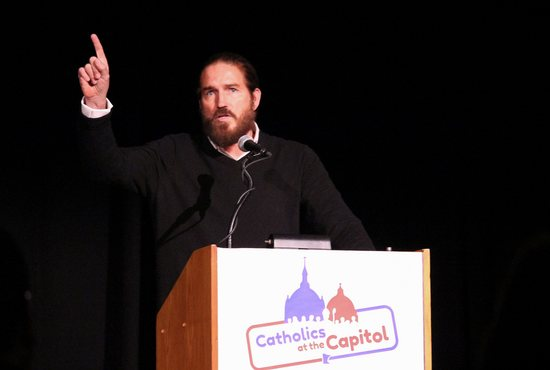 Jim Caviezel speaks at Catholics at the Capitol.