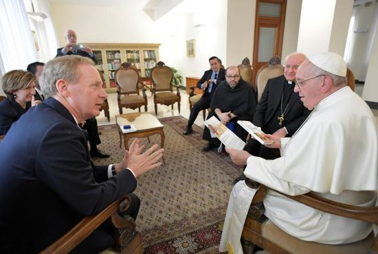 Pope Francis meets with Brad Smith, president and chief legal officer of Microsoft, at Domus Sanctae Marthae at the Vatican Feb. 13, 2019.