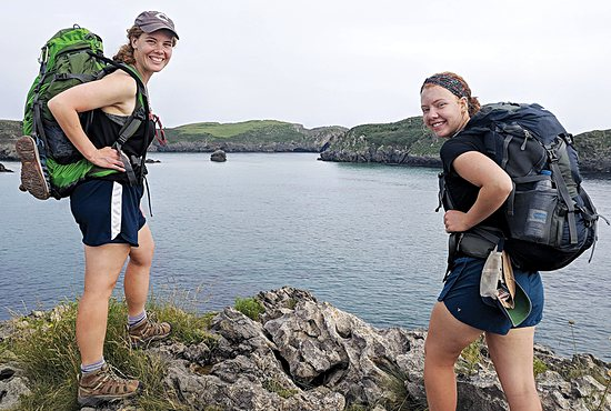 Annie Hinnenkamp, left, and her sister Rachael  on the Camino trail July 8 in Asturias, Spain.