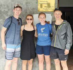 Tommy, left, Rachael, Annie and Billy Hinnenkamp in San Sebastian in northeast Spain June 22, the day before they began their monthlong trek on the Camino trail.
