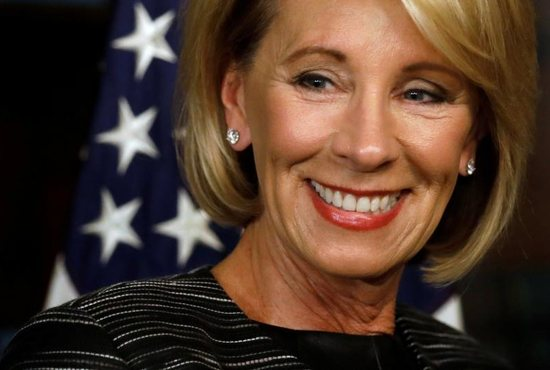 Betsy DeVos is seen in Washington Feb. 7 prior to being sworn in as the U.S. education secretary at the Eisenhower Executive Office Building next to the White House. DeVos has endorsed the Education Freedom Scholarships