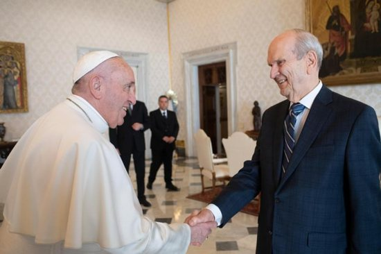 Pope Francis meets March 9, 2019, at the Vatican with Russell M. Nelson, president of the Church of Jesus Christ of Latter-day Saints. The meeting drew great interest from members of both faiths, say religious leaders.
