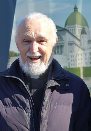 Father Claude Grou, rector of St. Joseph's Oratory in Montreal, seen June 4, 2018, was wounded March 22, 2019, after being stabbed during a televised Mass in the crypt of the oratory.
