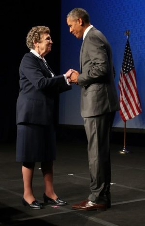 Sister Carol Keehan, a Daughter of Charity who is president and CEO of the Catholic Health Association, greets U.S. President Barack Obama June 9, 2015, in Washington during CHA's annual assembly.