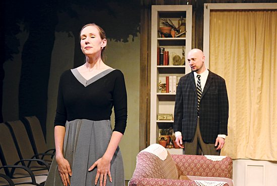 "Sarah Stanbary and Jeremy Stanbary in a scene from Open Window Theatre's production of Graham Greene's ""The Potting Shed"" in 2015. The theatre company, which produces plays imbued with Catholic values, moved out of its space in Minneapolis' North Loop in 2016 due to a dispute with the building owners. It is aiming to raise $250,000 to relaunch in a new space as soon as this fall."