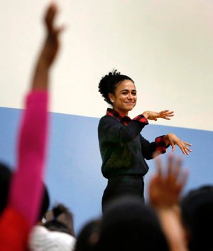 "Actress Lauren Teruel Ridloff, a Tony Award nominee and currently a star of ""The Walking Dead"" series on AMC, visits her elementary school alma mater in Chicago Feb. 22, 2019. The deaf actress graduated in 1991 from Holy Trinity School for the Deaf, now called Children of Peace School."