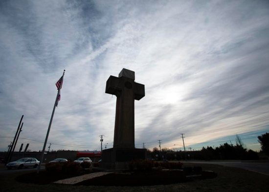 A cross-shaped World War I memorial, a landmark in Bladensburg, Md., is pictured Feb. 26, 2019. The U.S. Supreme Court will hear oral arguments Feb. 27 to consider if the 40-foot cross endorses religion or is just a secular memorial. The cement and marble cross, which is on a median strip on government property in Bladensburg, memorializes local soldiers who died in World War I.