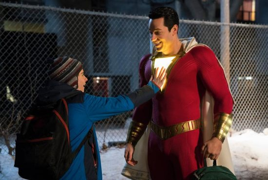 """Jack Dylan Grazer and Zachary Levi star in a scene from the movie """"Shazam."""""""