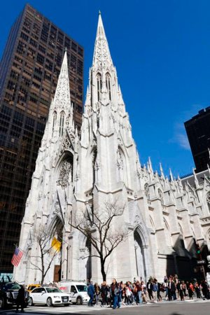 St. Patrick's Cathedral is seen on a sunny afternoon in New York City April 16, 2019. Police say they arrested a man accused of entering St. Patrick's Cathedral with cans of gas and lighters April 17.