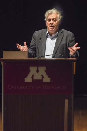 """Physicist Stephen Barr delivers the lecture """"Modern Physics and Ancient Faith"""" at the University of Minnesota April 4. He is the founder of the Society of Catholic Scientists, an international lay organization that now has more than 1,000 members."""