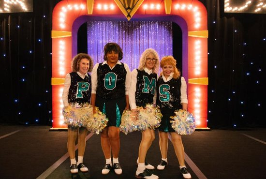 "Rhea Perlman, Pam Grier, Diane Keaton, and Jacki Weaver appear in the movie ""Poms."" The Catholic News Service classification is A-III -- adults. The Motion Picture Association of America rating is PG-13 -- parents strongly cautioned. Some material may be inappropriate for children under 13."