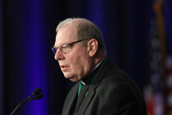 Bishop Robert P. Deeley of Portland, Maine, speaks on the first day of the spring general assembly of the U.S. Conference of Catholic Bishops in Baltimore June 11, 2019.