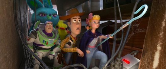"Animated characters Buzz Lightyear, voiced by Tim Allen, Woody, voiced by Tom Hanks, and Bo, voiced by Annie Potts, appear in the movie ""Toy Story 4."""