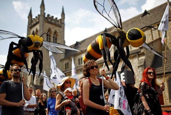 Environmental activists march through London