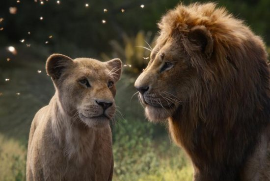 """The characters Nala, voiced by Beyonce Knowles-Carter, and Simba, voiced by Donald Glover, appear in the movie """"The Lion King."""""""