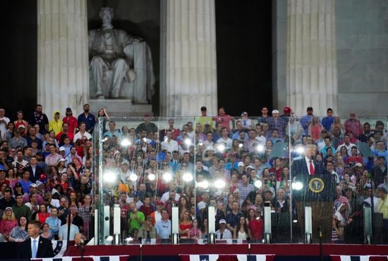 President Donald Trump gives his Fourth of July speech at the Lincoln Memorial
