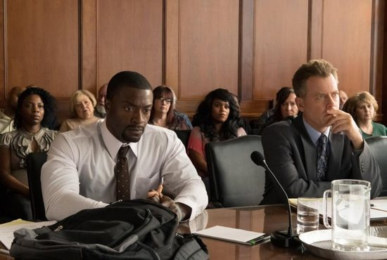 "Aldis Hodge and Greg Kinnear star in a scene from the movie ""Brian Banks."""