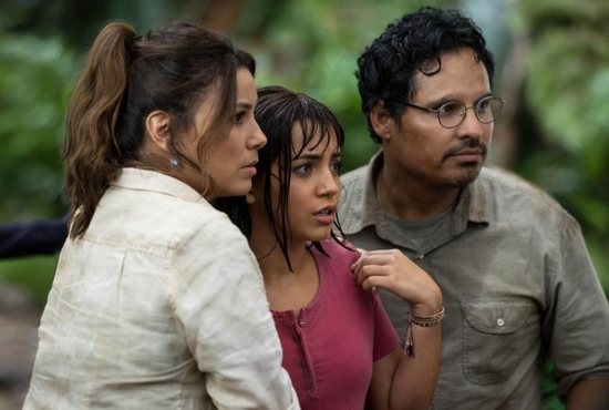 "Eva Longoria, Isabela Moner and Michael Pena star in a scene from the movie ""Dora and the Lost City of Gold."""
