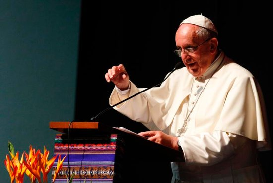 Pope Francis speaks at the second World Meeting of Popular Movements in Santa Cruz, Bolivia