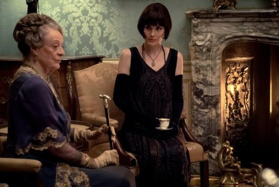 "Dame Maggie Smith and Michelle Dockery star in a scene from the movie ""Downton Abbey."""
