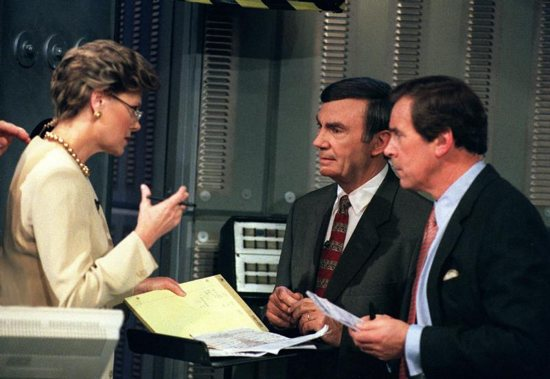 Cokie Roberts, Sam Donaldson and Peter Jennings are seen on election night Nov. 5, 1996.
