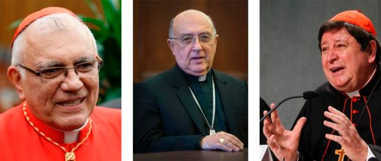 Pictured in a combination photo: Cardinals Baltazar Porras Cardozo, 74, of Merida, Venezuela; Pedro Barreto Jimeno, 75, of Huancayo, Peru; and Joao Braz de Aviz, 72, prefect of the Congregation for Institutes of Consecrated Life and Societies of Apostolic Life.