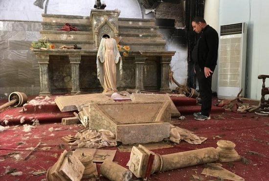A Catholic Church destroyed by Islamic State militants