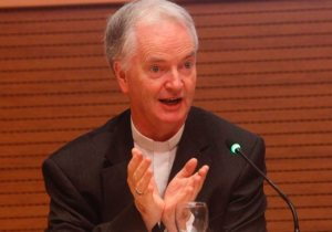 "Bishop Paul Tighe, adjunct secretary of the Pontifical Council for Culture, speaks at the conference, ""The Common Good in the Digital Age,"" at the Vatican Sept. 26, 2019. The Vatican-sponsored conference brought together Silicon Valley CEOs and technology specialists to discuss ethical issues faced in the digital age."