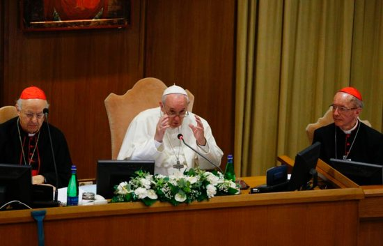 Pope Francis speaks at the start of the first session of the Synod of Bishops for the Amazon