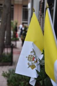 Vatican City flags decorate a flower box in Center City Philadelphia Sept. 26. (Sun photo | Katherine Long)