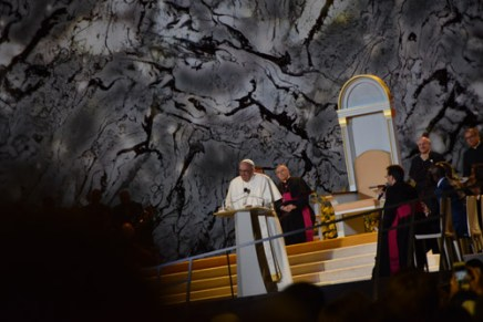 Pope Francis speaks at the Festival of Families Sept. 26. (Sun photo | Katherine Long)