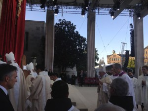 Pope Francis at the Mass of Canonization of St. Junipero Serra at the Basilica of the National Shrine of the Immaculate Conception in Washington, DC Sept. 23, 2015. (Photo courtesy Father Christopher Seibt.)